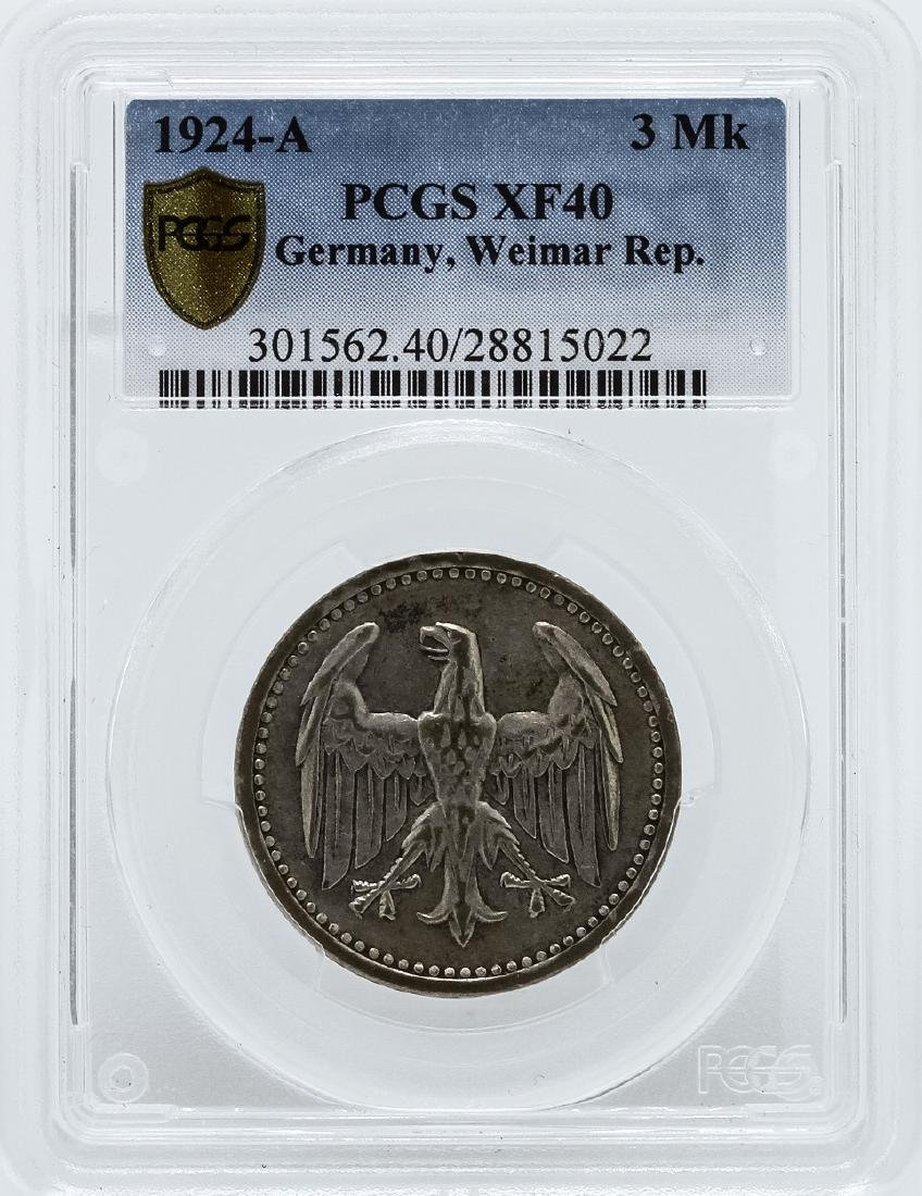 1924-A 3 Marks Germany Coin PCGS XF40