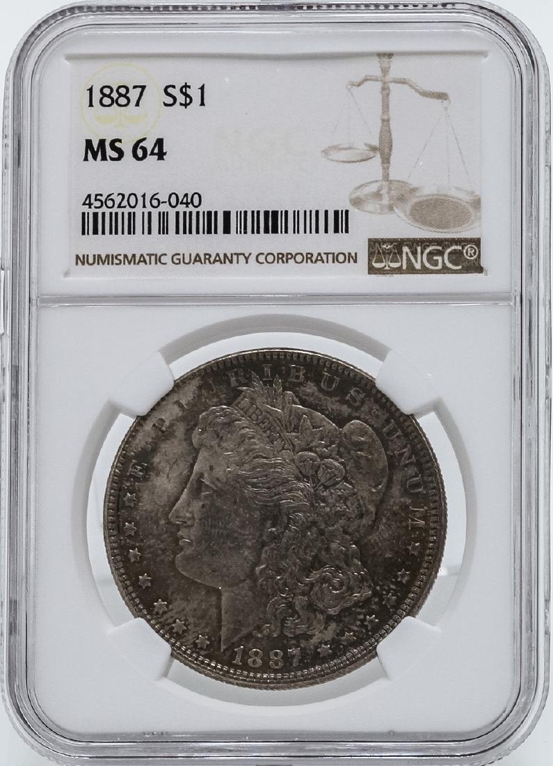 1887 $1 Morgan Silver Dollar Coin NGC MS64 Toning