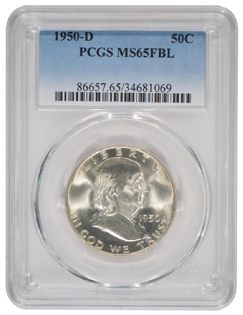 1950-D Franklin Half Dollar Coin PCGS MS65FBL