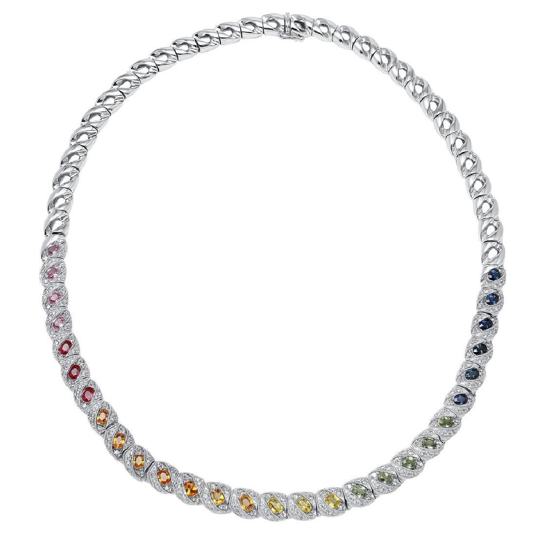 18KT White Gold 6.62ctw Multi Color Sapphire and