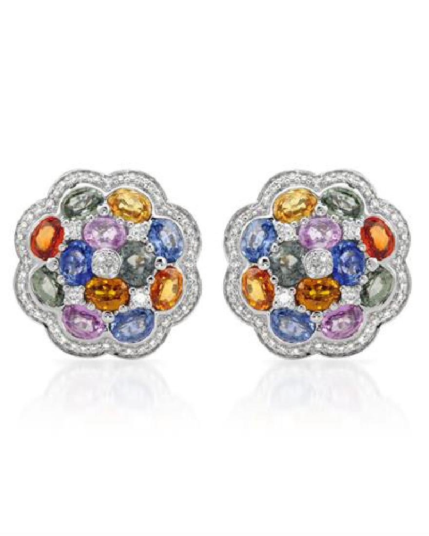 14KT White Gold 10.92ctw Multi Color Sapphire and