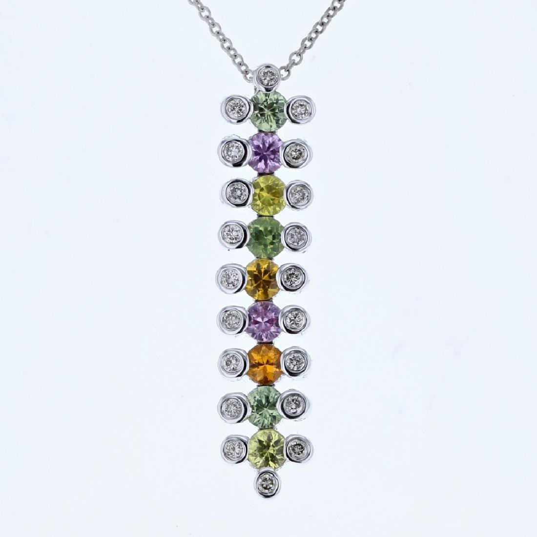 14KT White Gold 1.48ctw Multi Color Sapphire and