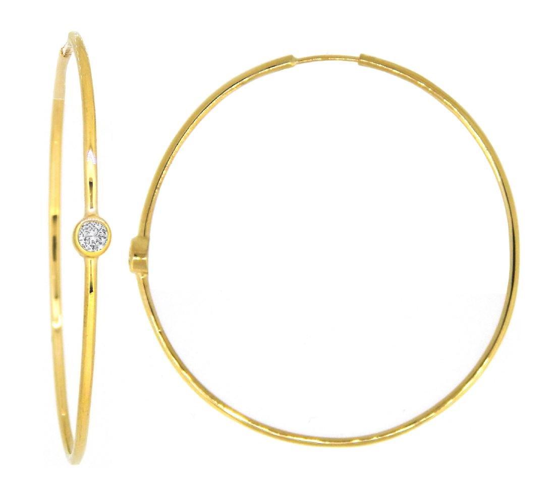 14KT Yellow Gold 0.66ctw Diamond Hoop Earrings