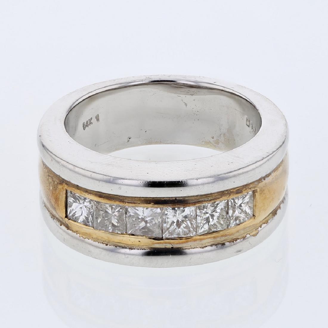 14KT Two Tone Gold 1.08ctw Diamond Wedding Band