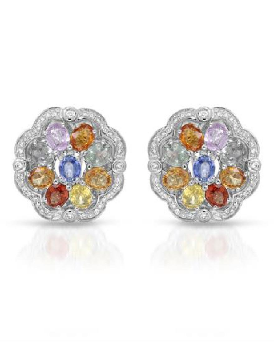 14KT White Gold 7.69ctw Multi Color Sapphire and