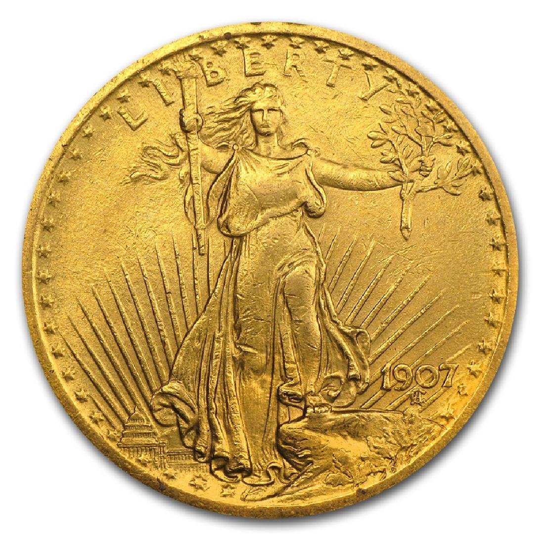 1907 $20 St Gaudens Double Eagle Gold Coin