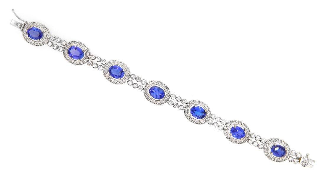 14KT White Gold 10.28ctw Tanzanite and Diamond Bracelet