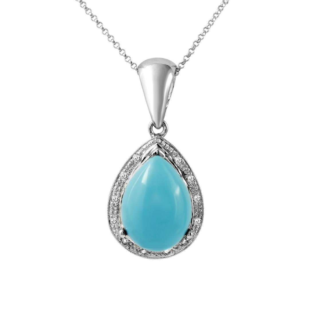 14KT White Gold 9.08ct Turquoise and Diamond Pendant