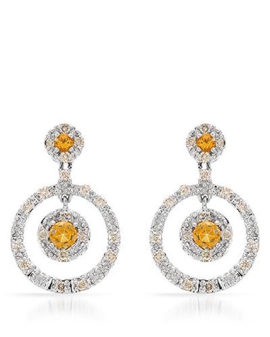 14KT White Gold 0.49ctw Citrine and Diamond Earrings