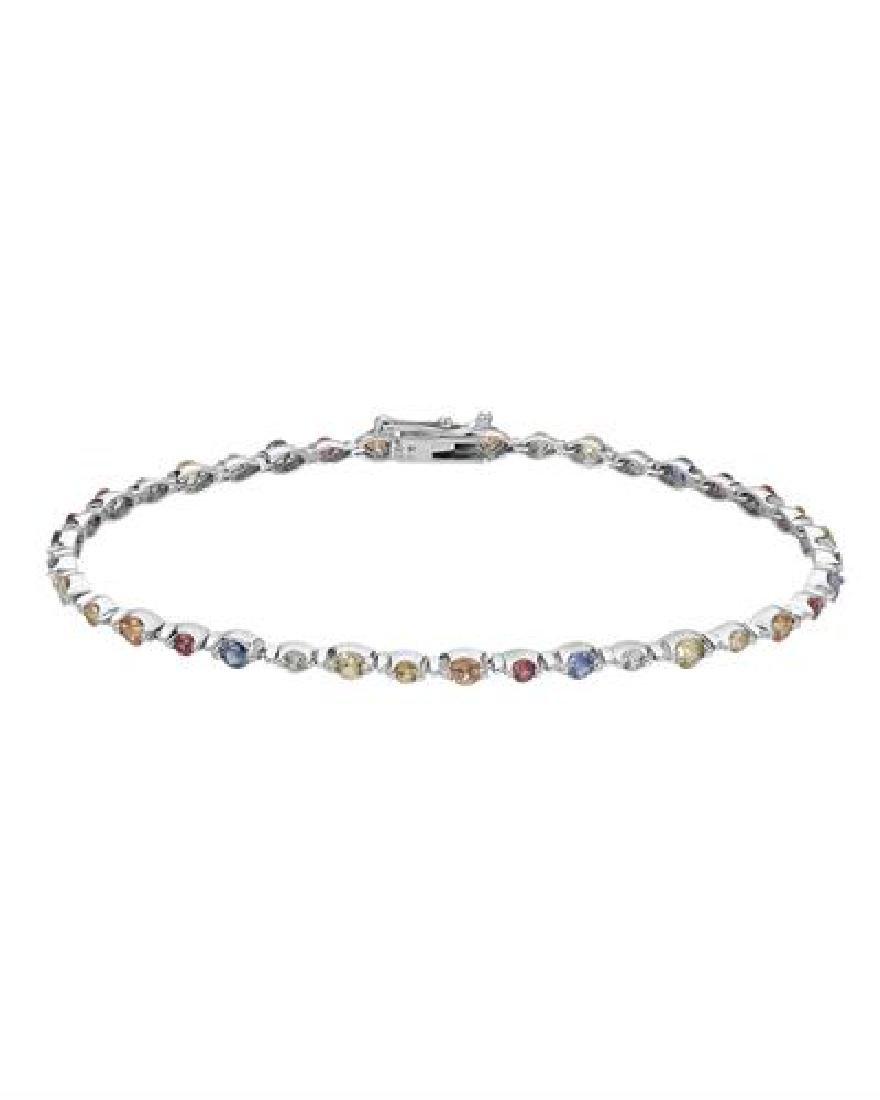 14KT White Gold 4.59ctw Multi Color Sapphire Bracelet