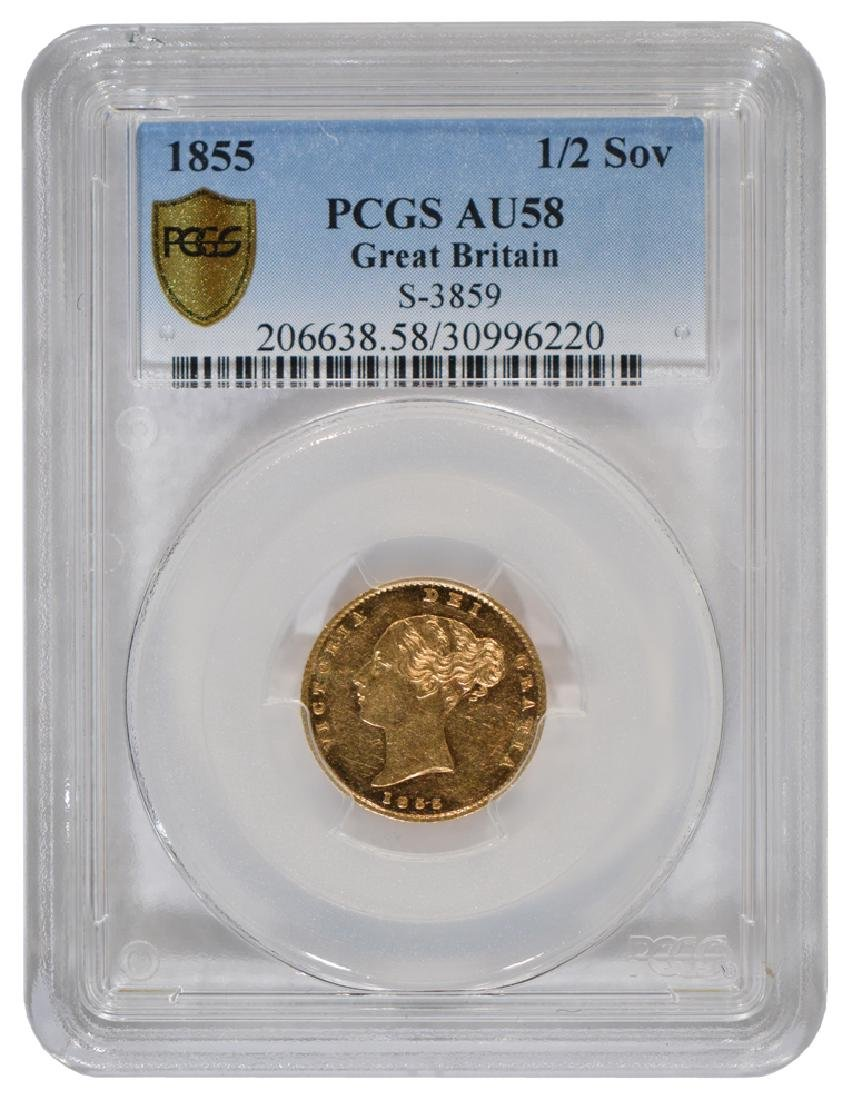 1855 1/2 Sovereign Gold Coin PCGS AU58
