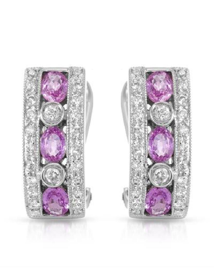 18KT White Gold 1.35ctw Pink Sapphire and Diamond