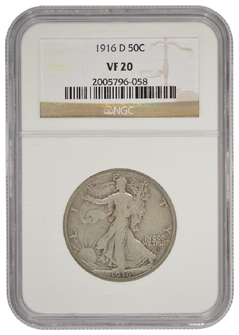 1916-D Walking Liberty Half Dollar Coin NGC VF20