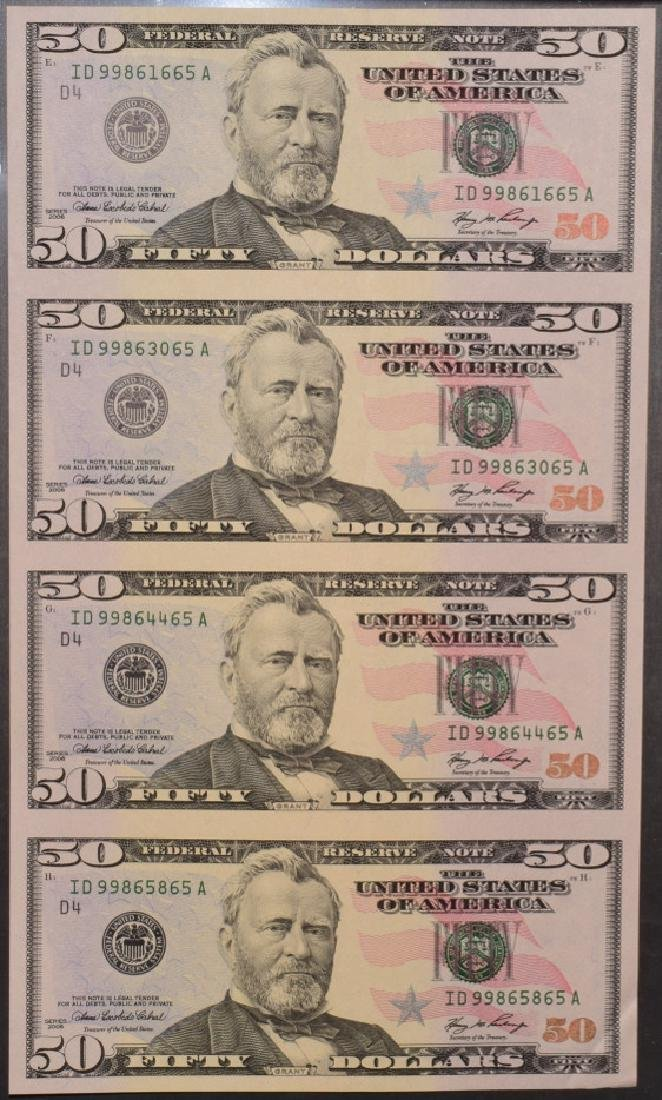2006 (4) $50 Uncut Sheet of Cleveland Federal Reserve