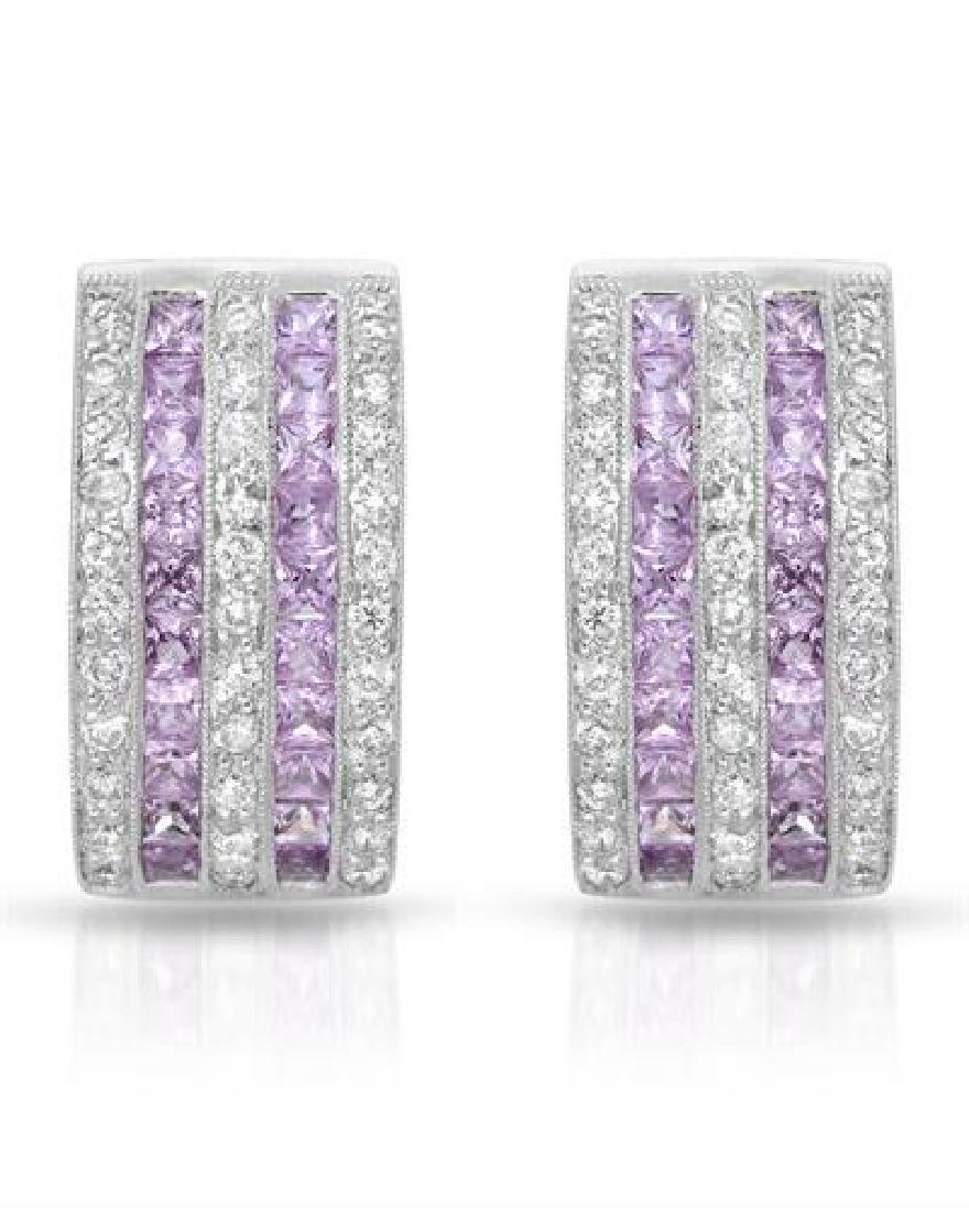18KT White Gold 2.05ctw Pink Sapphire and Diamond