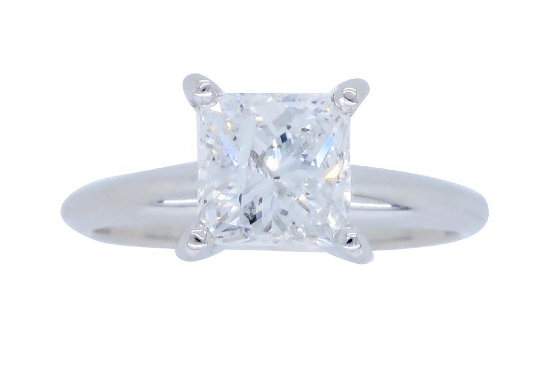 14KT White Gold 1.00ct EGL Cert Princess Cut Diamond