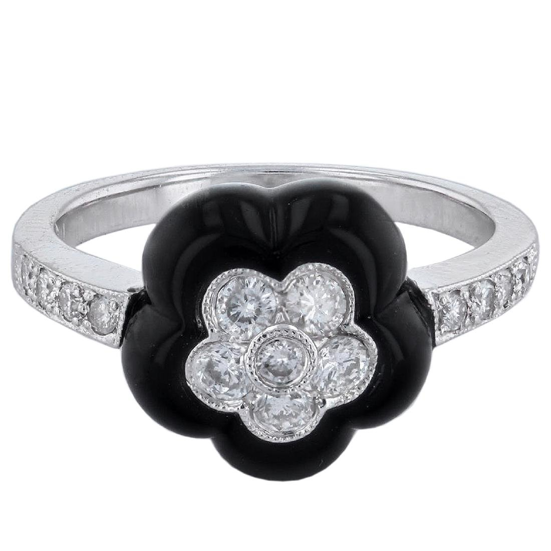 18KT White Gold Onyx and Diamond Ring