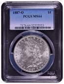 1887O 1 Morgan Silver Dollar Coin PCGS MS64