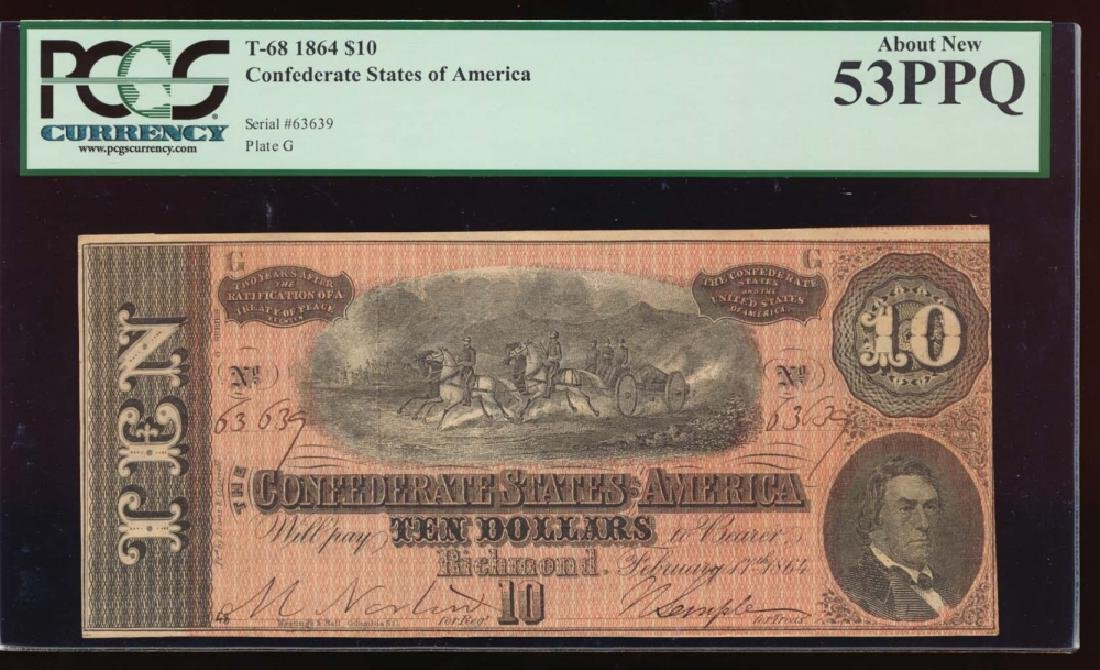1864 $10 Confederate States of America Note PCGS 53PPQ