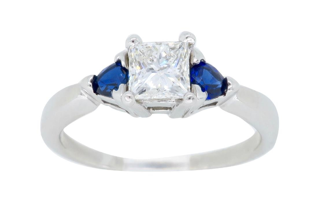 14KT White Gold 0.51ct GIA Cert Diamond and Sapphire