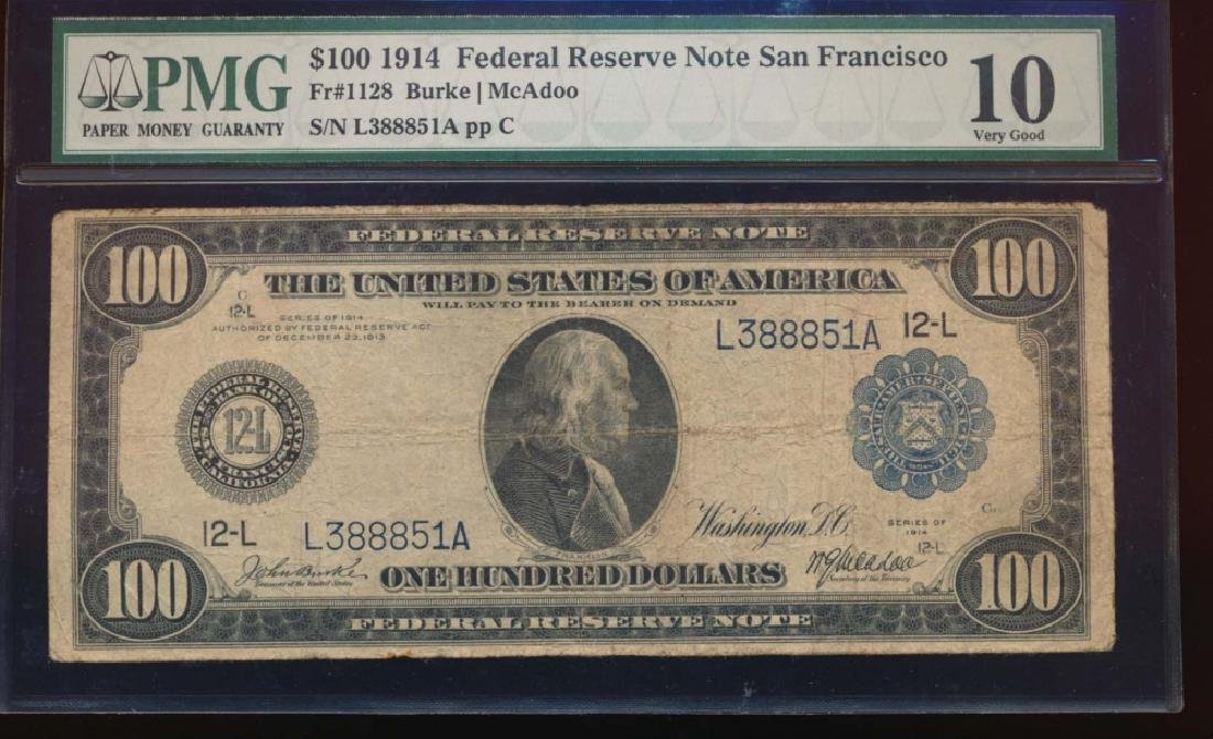 1914 $100 San Francisco Federal Reserve Note PMG 10
