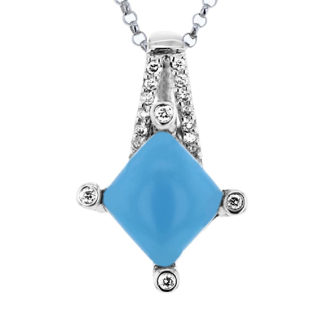 14KT White Gold 1.92ct Turquoise and Diamond Pendant