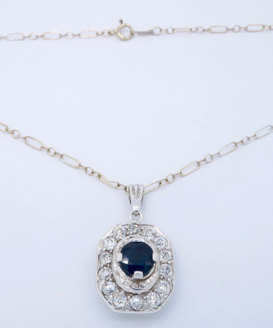 Platinum Blue Sapphire and Diamond Pendant with Chain