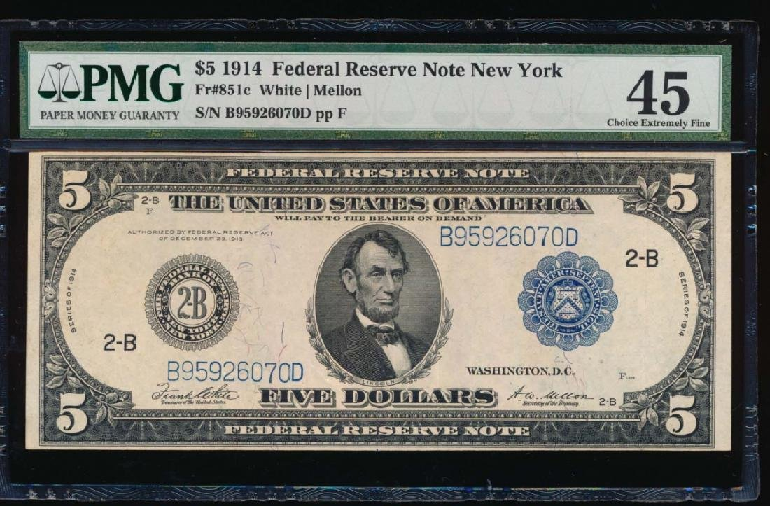 1914 $5 New York Federal Reserve Note PMG 45