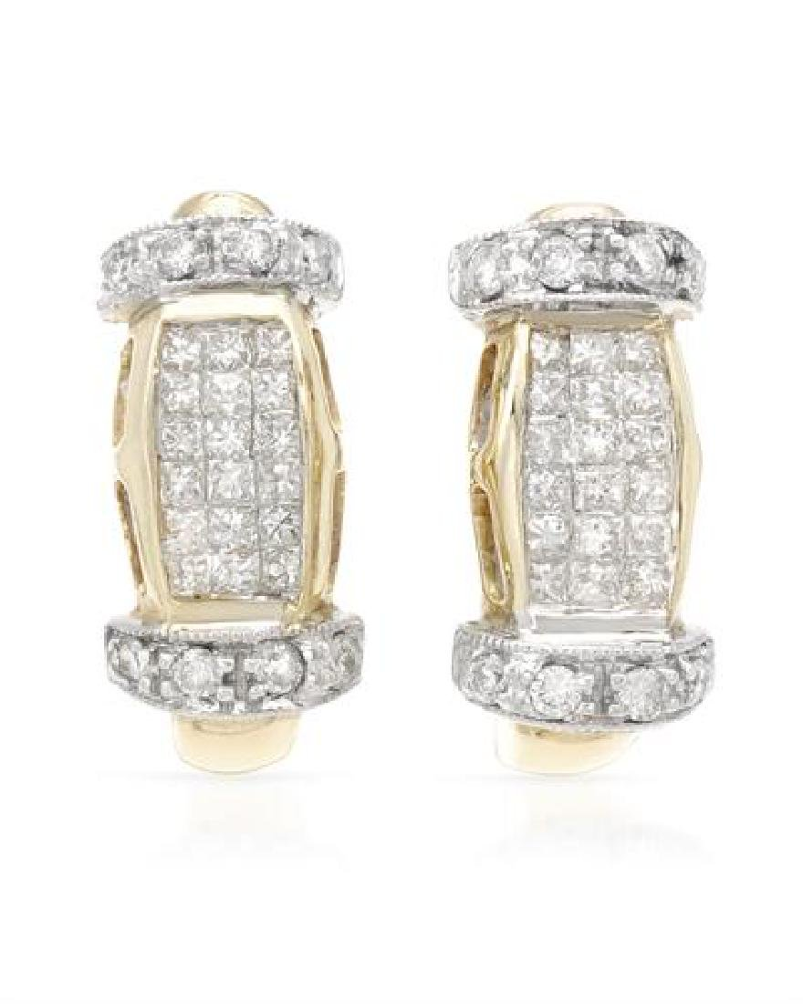 14KT Two Tone Gold 0.50ctw Diamond Earrings