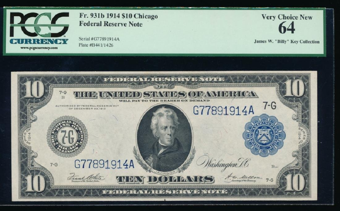 1914 $10 Chicago Federal Reserve Note PCGS 64