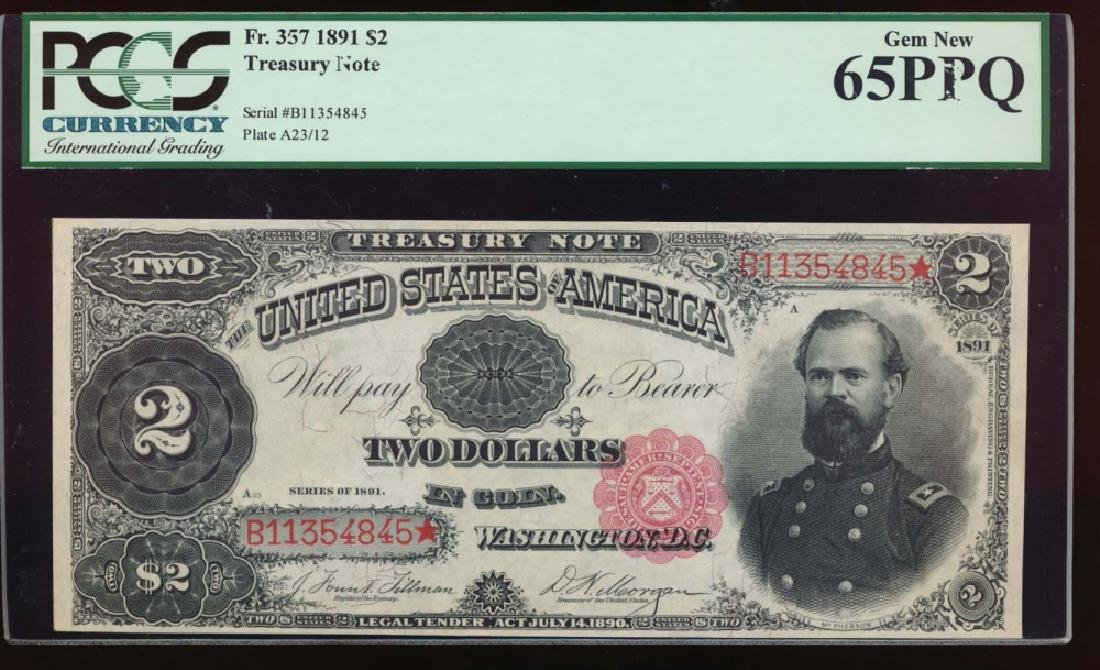 1891 $2 Treasury Note PCGS 65PPQ