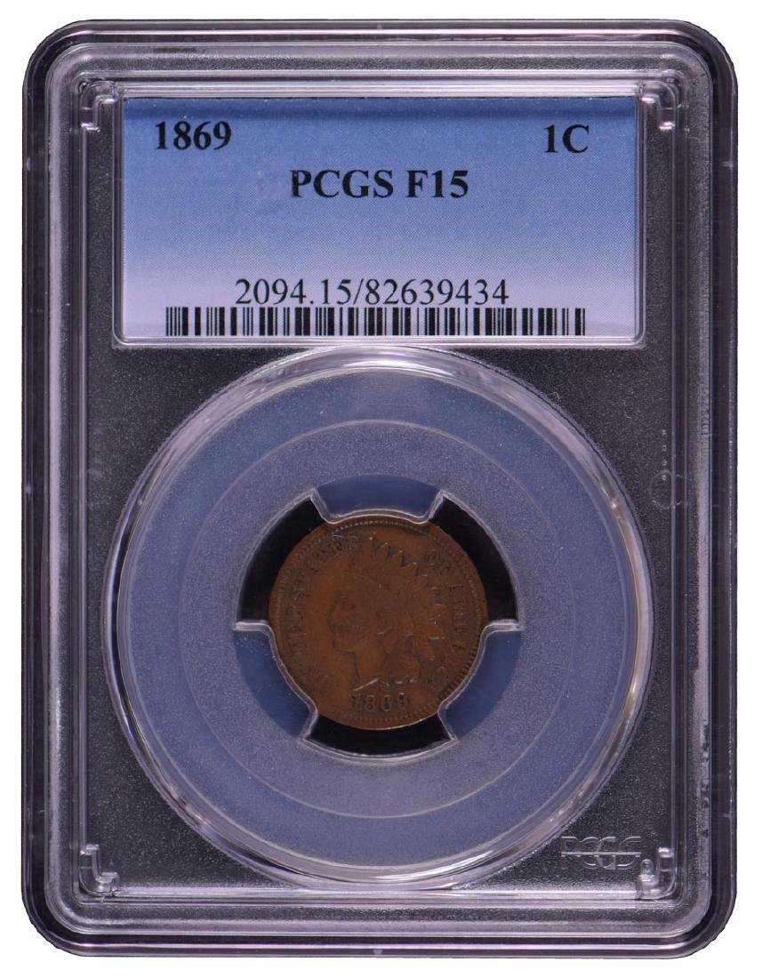 1869 Indian Cent PCGS F15