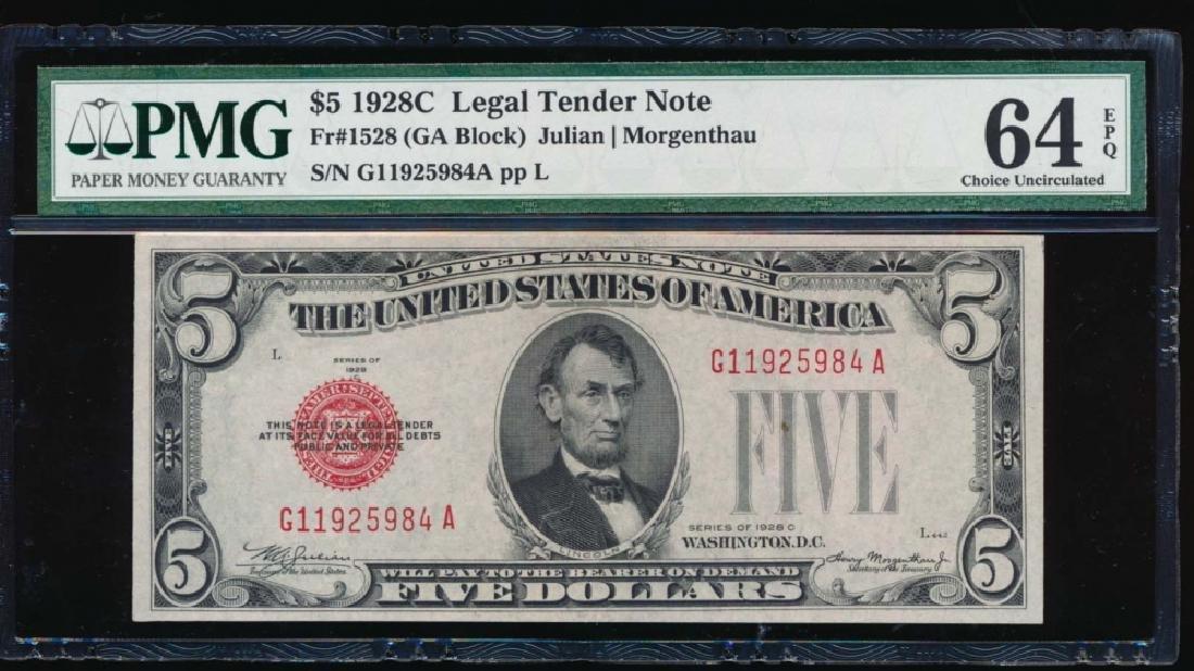 1928C $5 Legal Tender Note PMG 64EPQ