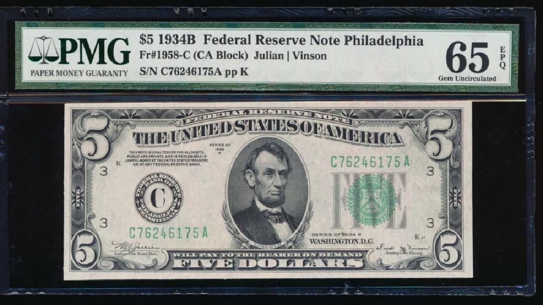 1934B $5 Philadelphia Federal Reserve Note PMG 65EPQ