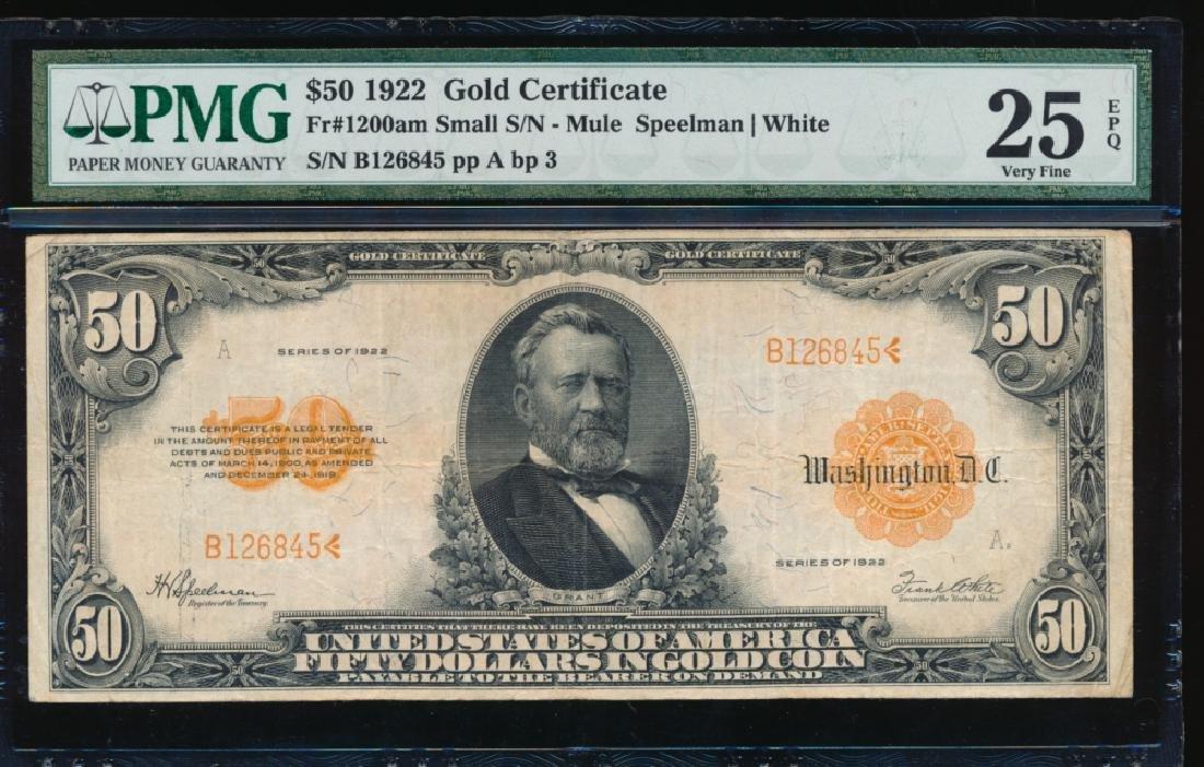 1922 $50 Large Gold Certificate PMG 25EPQ