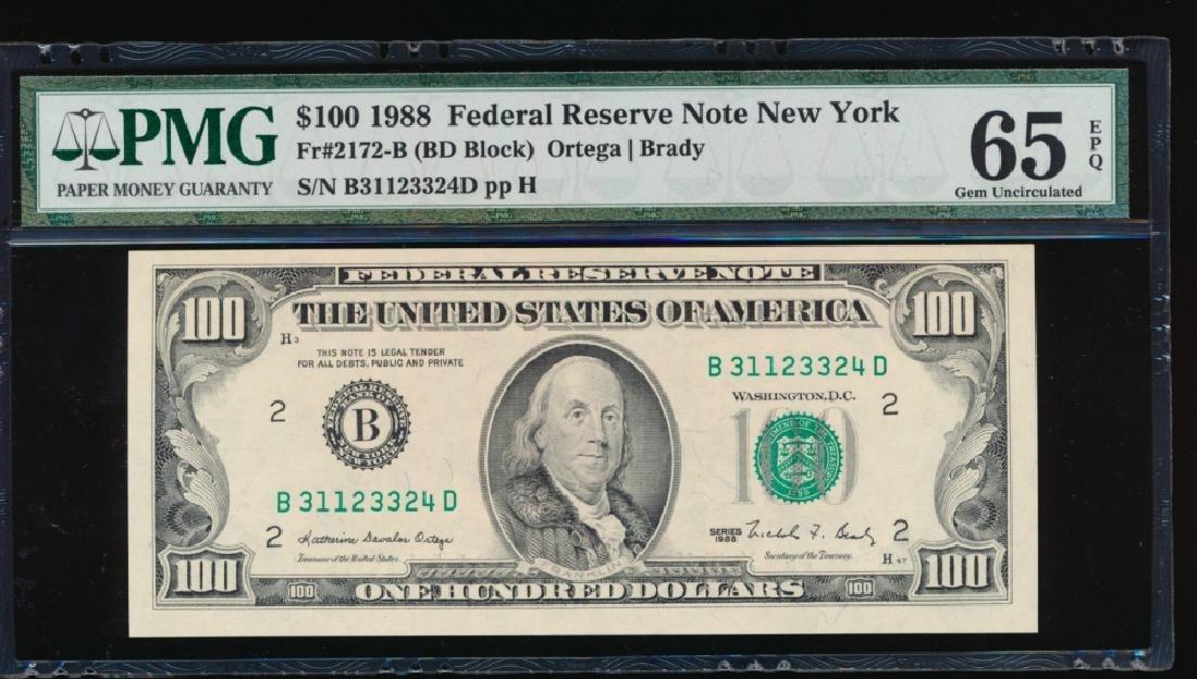 1988 $100 New York Federal Reserve Note PMG 65EPQ