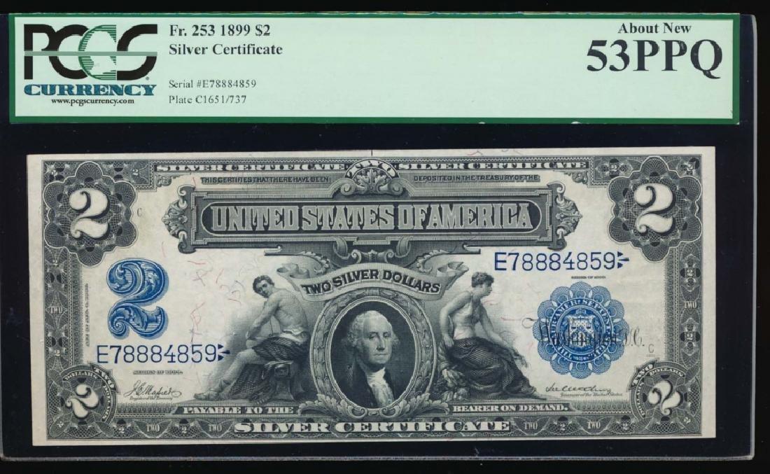 1899 $2 Mini Porthole Silver Certificate PCGS 53PPQ