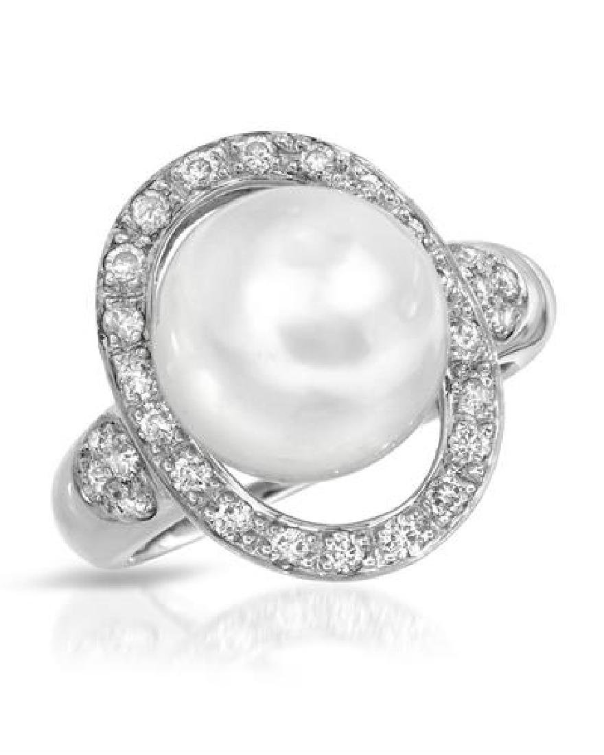 18KT White Gold 10.50ct Pearl and Diamond Ring