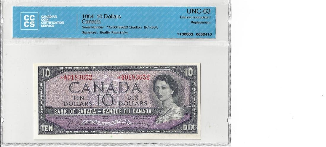 1954 $10 Bank of Canada Note CCCS UNC-63