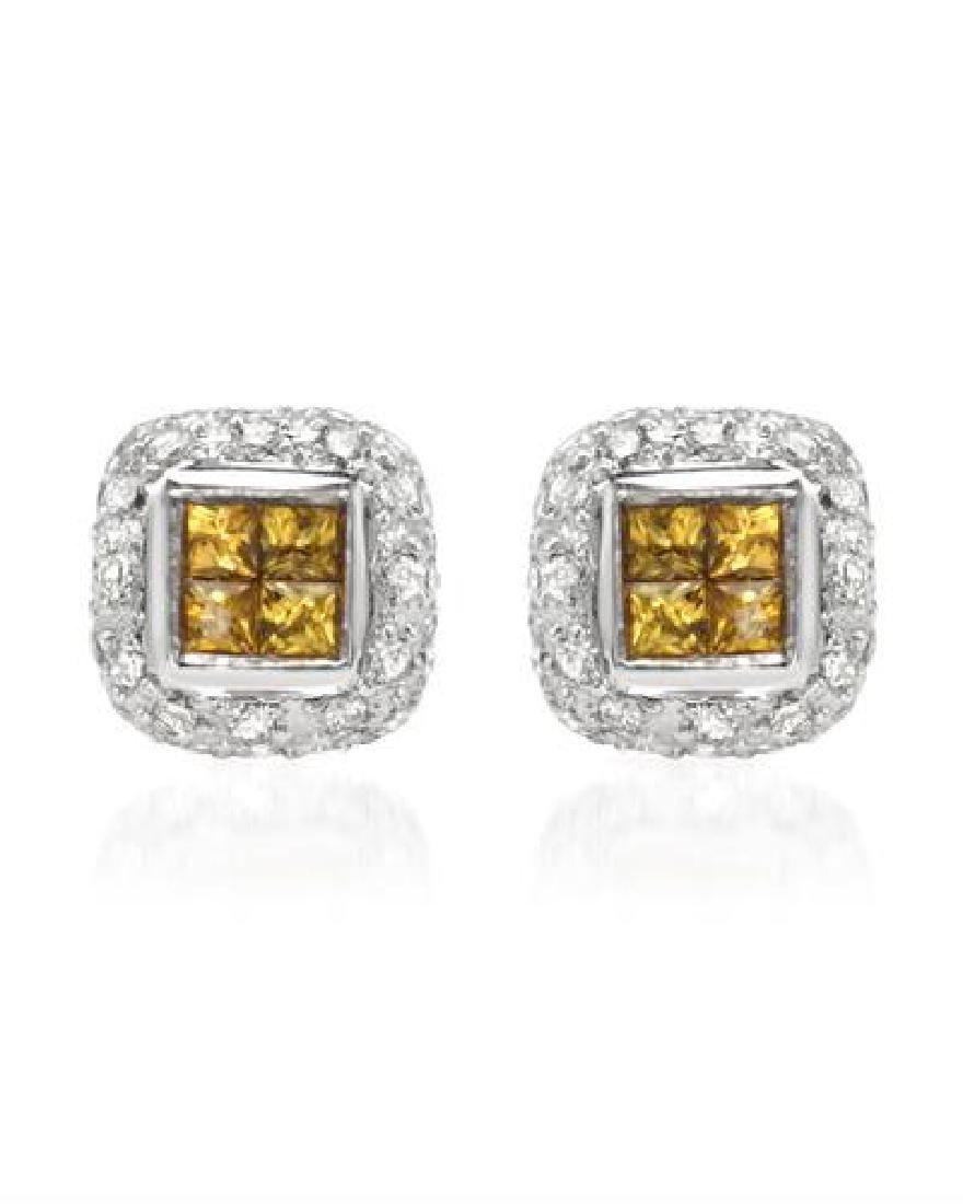 14KT White Gold 0.30ctw Yellow Sapphire and Diamond