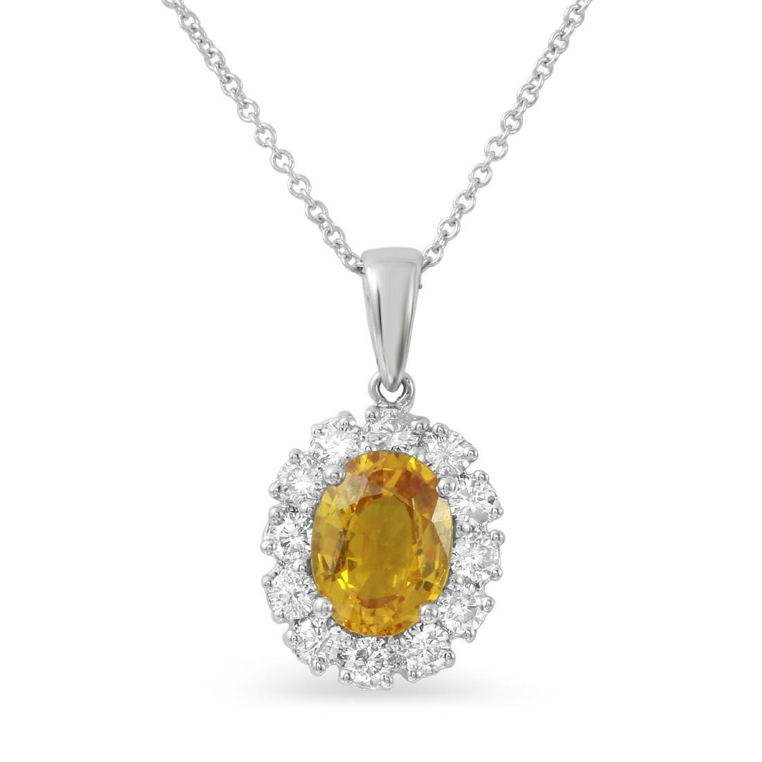 14KT White Gold 1.63ct Yellow Sapphire and Diamond