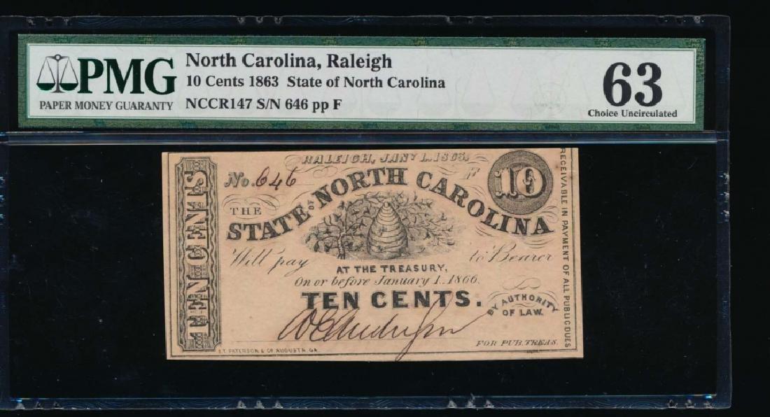 10 Cent 1863 North Carolina Obsolete Note PMG 63