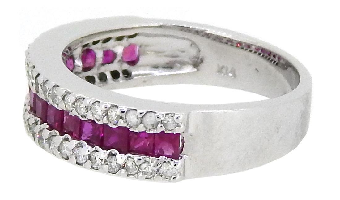 14KT White Gold 0.95ctw Ruby and Diamond Ring - 2