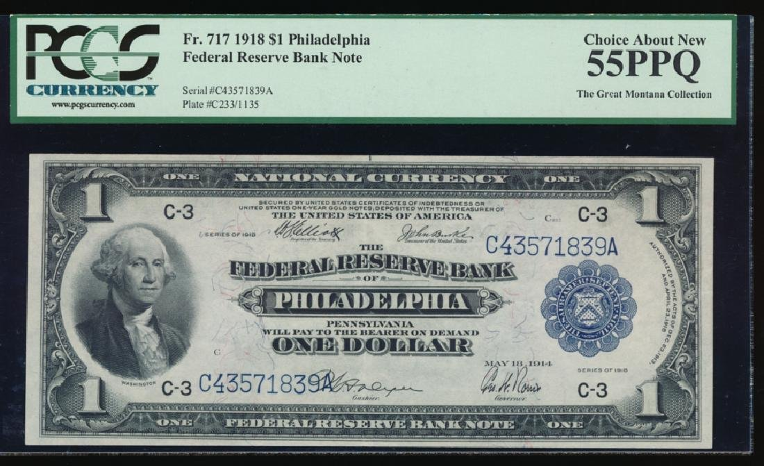 1918 $1 Large Philadelphia Federal Reserve Note PCGS