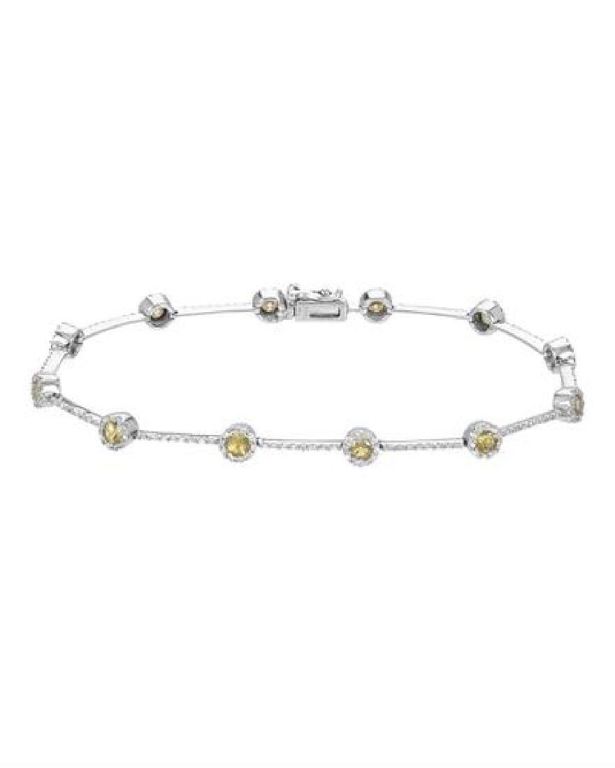 14KT White Gold 1.72ctw Yellow Sapphire and Diamond