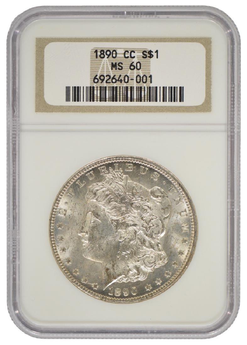 1890-CC $1 Morgan Silver Dollar Coin NGC MS60