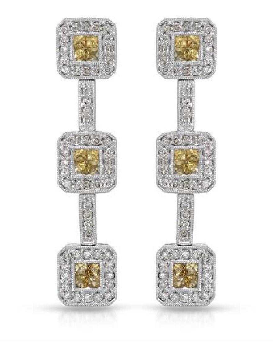 14KT White Gold 1.13ctw Yellow Sapphire and Diamond