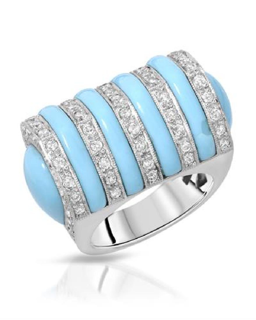 14KT White Gold 10.06ctw Turquoise and Diamond Ring