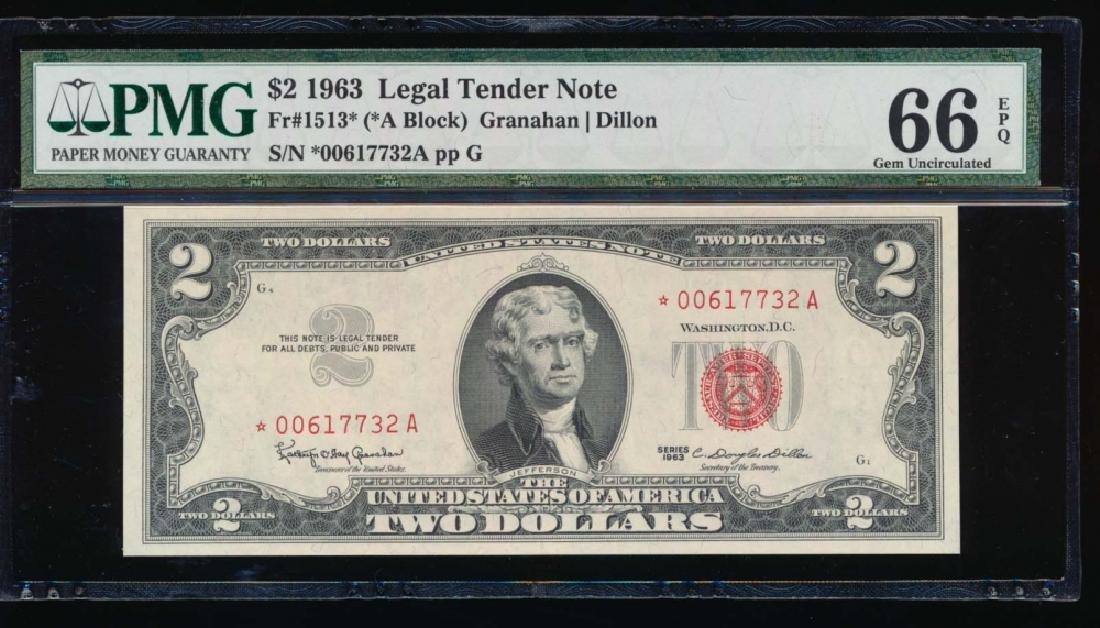 1963 $2 Legal Tender Note PMG 66EPQ