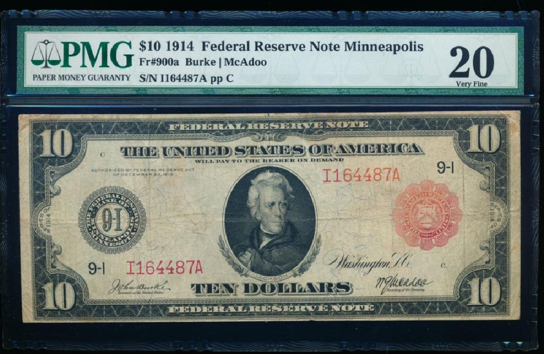 1914 $10 Minneapolis Red Seal Federal Reserve Note PMG